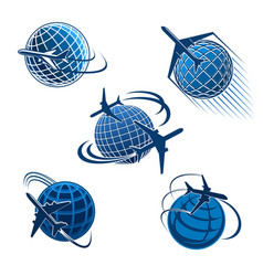 Around world travel icon with plane and globe vector