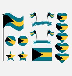 Bahamas flag set collection symbols flag vector