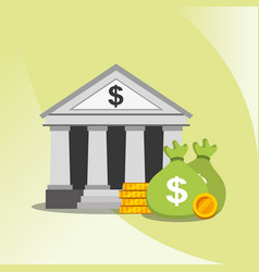 bank stack money and bag dollar currency vector image