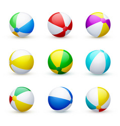 Beach ball striped rubber toy realistic set vector