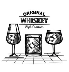 best whiskey set cups drawn vector image