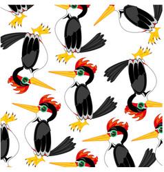 bird woodpecker decorative pattern on white vector image