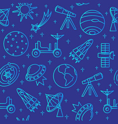 blue seamless pattern with space icons in thin vector image