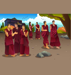 buddhist monks in tibet temples vector image