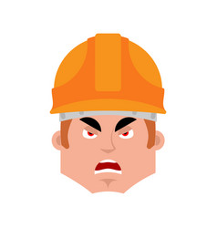 builder angry emotion avatar worker in protective vector image