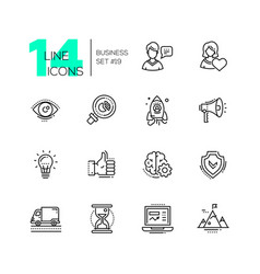 business - modern single line icons set vector image