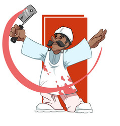 Butcher swinging a cleaver vector