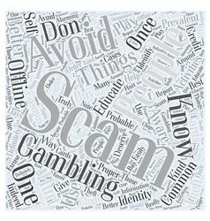 BWG offline gambling scam Word Cloud Concept vector image