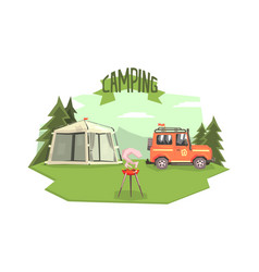 camping banner template car tent and barbecue vector image