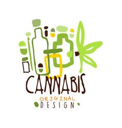 cannabis label original design logo graphic vector image