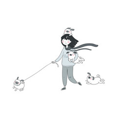 cartoon woman on a walk with puppies beautiful vector image