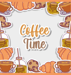 coffee time sketch flat design vector image