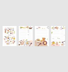 Collection recipe card or sheet templates vector