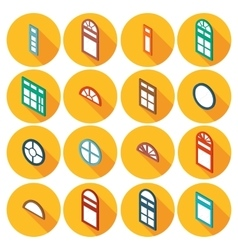 color isometric set of flat icons window vector image