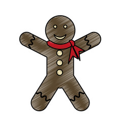 Colorful crayon silhouette of gingerbread man with vector