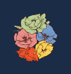 colorful flowers bouquet various events vector image