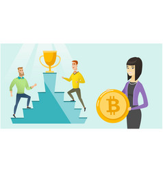 competition between initial coin offering projects vector image
