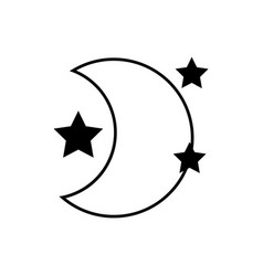 Contour cute moon with stars in the night space vector