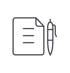 contractdocument file with pen line icon vector image