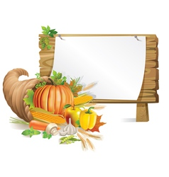 Cornucopia wooden board vector