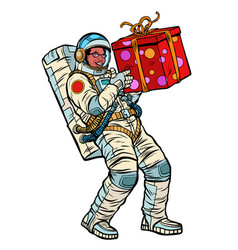 Cosmonaut with gift box african american people vector