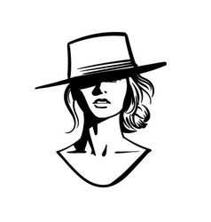 Cowboy girl face with hat black and white vector
