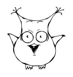 Cute funny scared crazy mad insane owl bird vector
