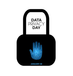 Data privacy day abstract background hand stop vector
