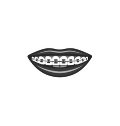 Dental braces in black and white human vector