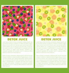 detox juice poster ingredients refreshing drink vector image