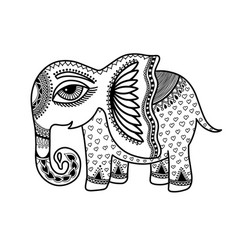 drawing little baelephant in indian henna vector image