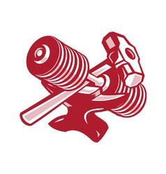 Dumbbell anvil and sledgehammer retro vector