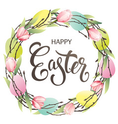 easter wreath with eggs hand drawn pink tulips on vector image