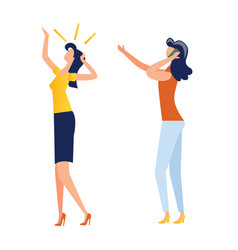 female characters making gestures cartoon vector image