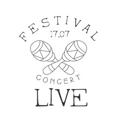 festival live music concert black and white poster vector image