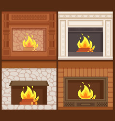 Fireplaces in classic styles wooden and stone vector