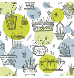 flower pots and house plants seamless pattern in vector image