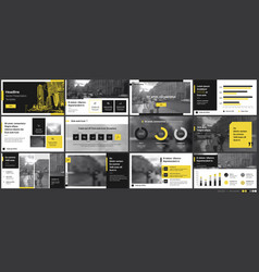 Geometric yellow presentation element templates vector