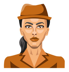 girl with brown hat and pony tail on white vector image