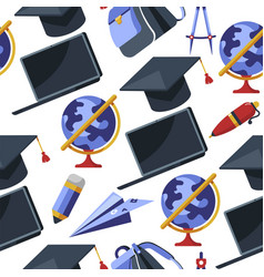 Graduation hat pen and laptop with globe seamless vector