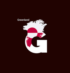 Greenland initial letter country with map and vector
