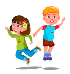 group of happy children are jumping together vector image
