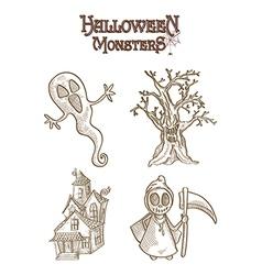 Halloween Monsters spooky characters set EPS10 vector