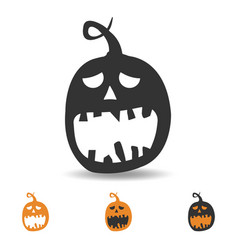 halloween pumpkin icon scary face for party vector image