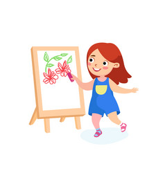 happy child character painting on easel girl vector image