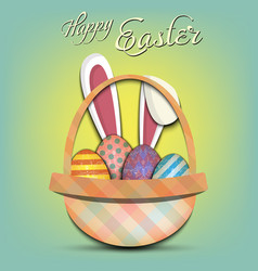 happy easter basket with easter painted eggs vector image