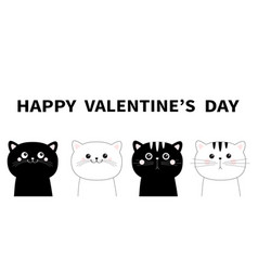 happy valentines day black white cat head face vector image