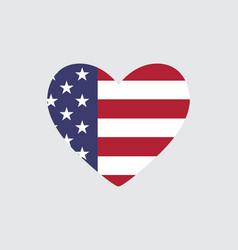 Heart usa flag colors and symbols vector