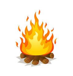 Hot burning big flame campfire with tree woods vector