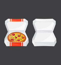 hot fresh pizza box icon vector image